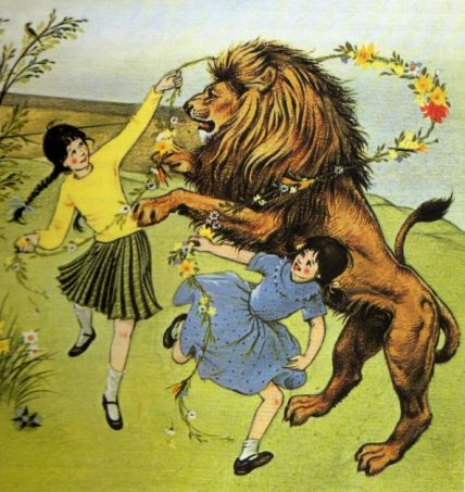 Aslan, Susan and Lucy, illustration by Pauline Baynes
