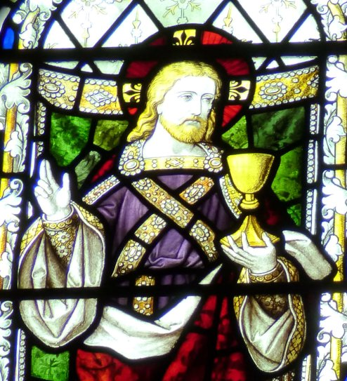 Chalice, stained glass, Abbots Bromley