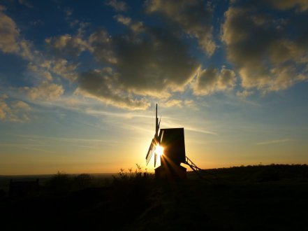 windmill at sunset, Brill, Buckinghamshire. Image: Sue Vincent
