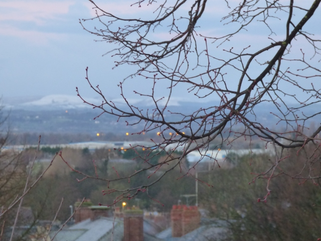 Distant snow from the Roman walls
