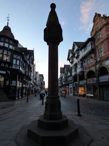 The market Cross marks the historic centre of Chester