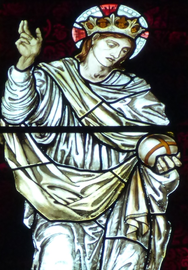 Salvator Mundi: stained glass by Edward Burne-Jones and William Morris.