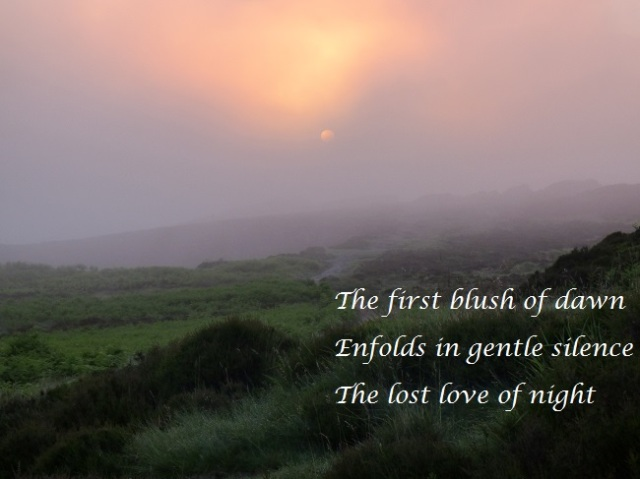 The first blush of dawn Enfolds in gentle silence The lost love of night