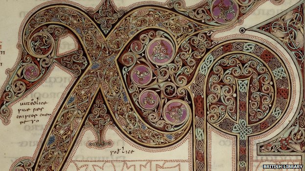 Illuminated letters.. part of a page of the Lindisfarne Gospel. Image: British Library