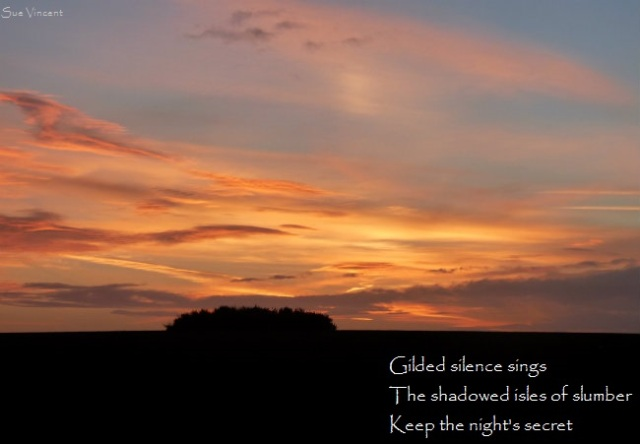 Gilded silence sings, the shadowed isles of slumber, keeps the night's secret.