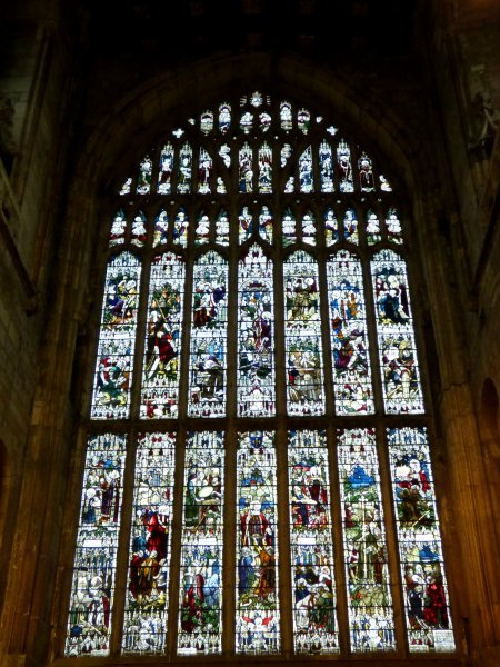 The St Germain window from 1914 replaced the shattered medieval glass. It shows 46 scenes from the story and legend of the saint and is unique in the world