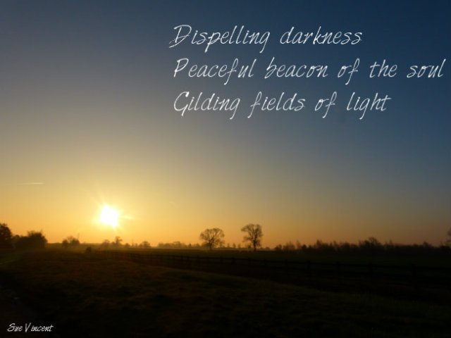 Dispelling darkness Peaceful beacon of the soul Gilding fields of light