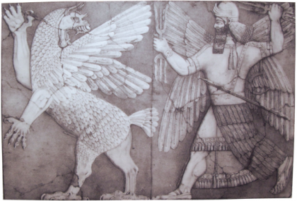 Assyrian warrior, Ninurta with thunderbolt