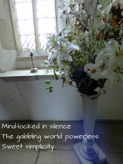 Mind-locked in silence The gabbling world powerless Sweet simplicity