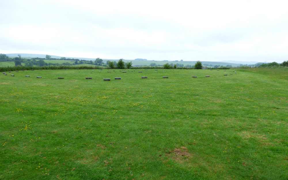 The Sanctuary, with Silbury Hill and West Kennet in the distance