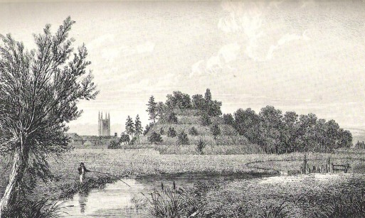 Engraving of Marlborough Mound from 'The Ancient History of Wiltshire', 1812-1821