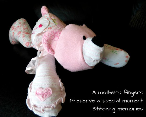 A mother's fingers Preserve a special moment Stitching memories