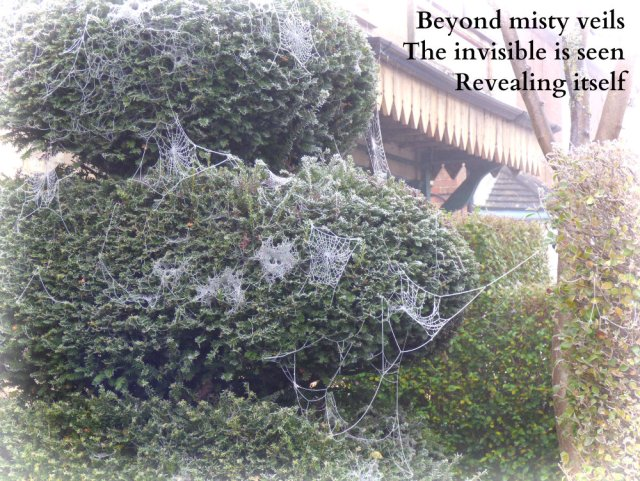 Beyond misty veils The invisible is seen Revealing itself