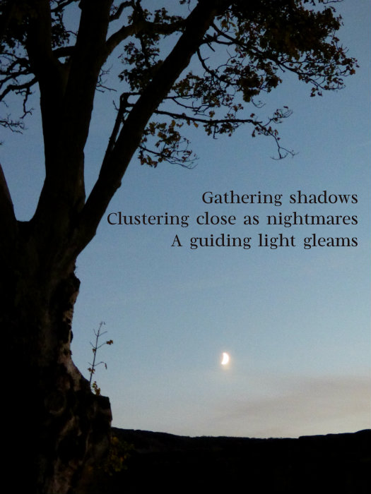 Gathering shadows Clustering close as nightmares A guiding light gleams