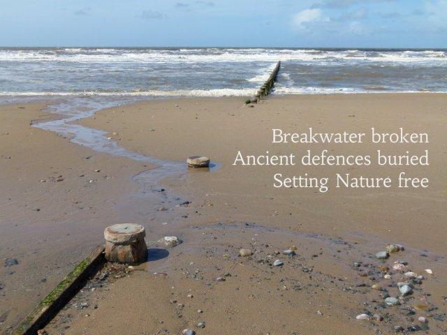 Breakwater broken Ancient defences buried Setting Nature free