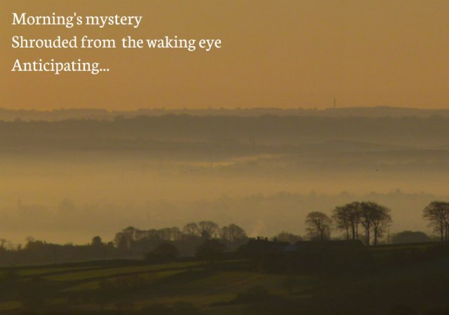 Morning's mystery Shrouded from  the waking eye Anticipating...