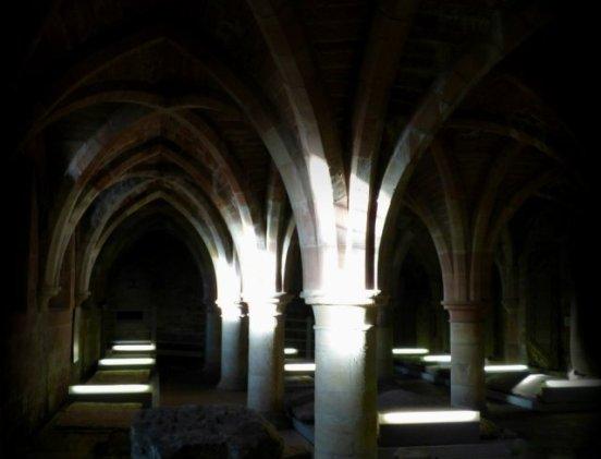 dark vaulted cloisters