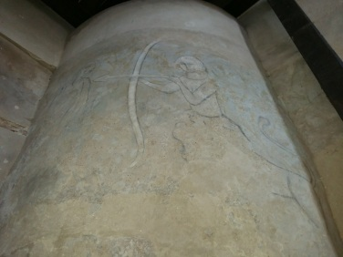 Medieval wall painting in the Houska Chapel of a left-handed centaur. Image : G.Vasey
