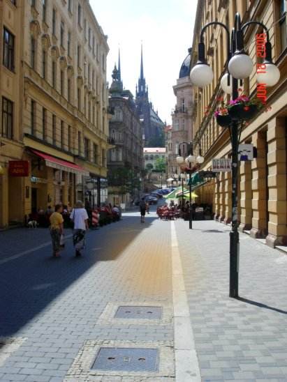 A street in Brno, looking towards the Church of St. Peter and St. Paul. Image : G.Vasey