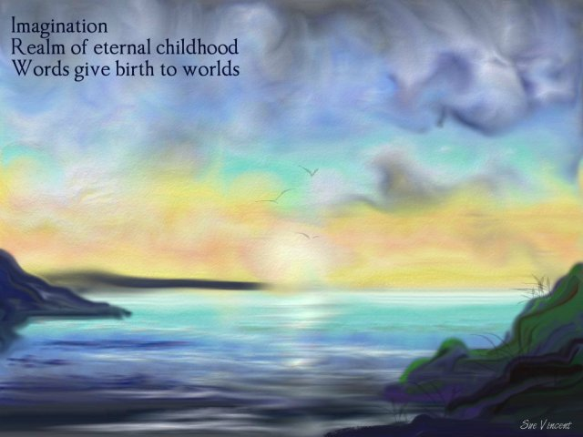 imagination-realm-of-eternal-childhood-words-give-birth-to-worlds Image: painting  of fantasy landscape with light on water