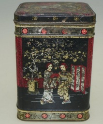 old japanese style tin tea caddy