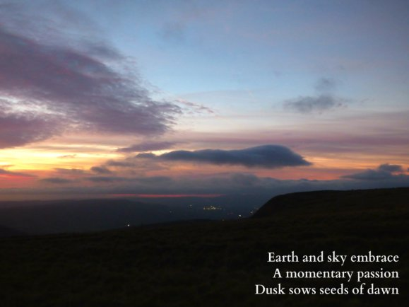 Earth and sky embrace A momentary passion Dusk sows seeds of dawn