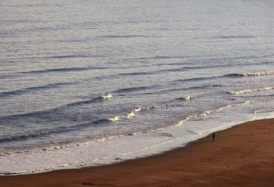 a solitary figure on a beach against a wide ocean.