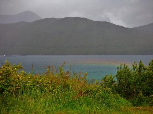 Rainbow coloured sea