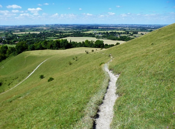 vista - a chalk path along the side of a downland hill, looking out over the country beyond