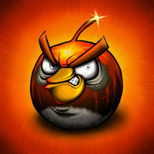 Image of cartoon Angry bird about to blow